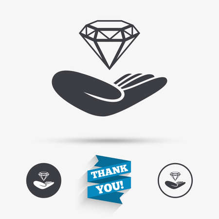 brilliant: Jewelry insurance sign. Hand holds diamond symbol. Brilliant insurance. Flat icons. Buttons with icons. Thank you ribbon. Vector