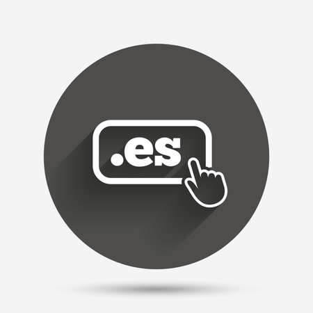 vector es: Domain ES sign icon. Top-level internet domain symbol with hand pointer. Circle flat button with shadow. Vector Illustration