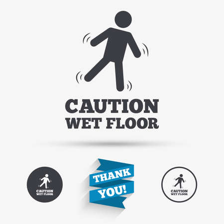 wet floor sign: Caution wet floor sign icon. Human falling symbol. Flat icons. Buttons with icons. Thank you ribbon. Vector