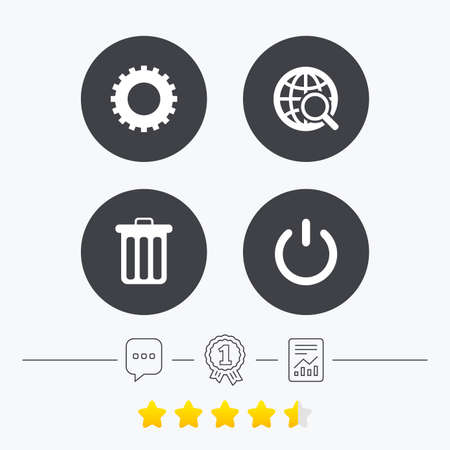 energy ranking: Globe magnifier glass and cogwheel gear icons. Recycle bin delete and power sign symbols. Chat, award medal and report linear icons. Star vote ranking. Vector