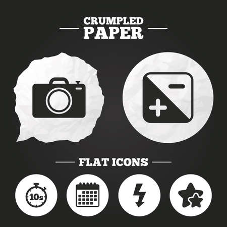 seconds: Crumpled paper speech bubble. Photo camera icon. Flash light and exposure symbols. Stopwatch timer 10 seconds sign. Paper button. Vector Illustration