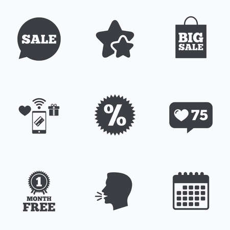medal like: Sale speech bubble icon. Discount star symbol. Big sale shopping bag sign. First month free medal. Flat talking head, calendar icons. Stars, like counter icons. Vector