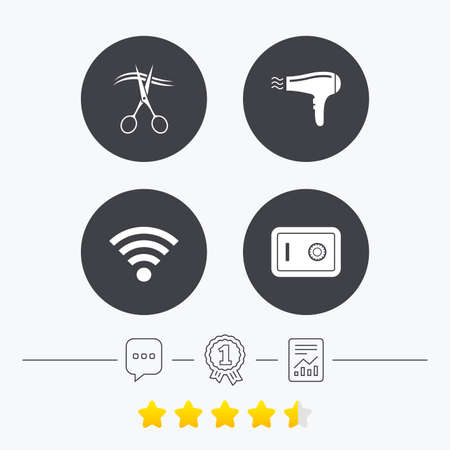 chat room: Hotel services icons. Wifi, Hairdryer and deposit lock in room signs. Wireless Network. Hairdresser or barbershop symbol. Chat, award medal and report linear icons. Star vote ranking. Vector