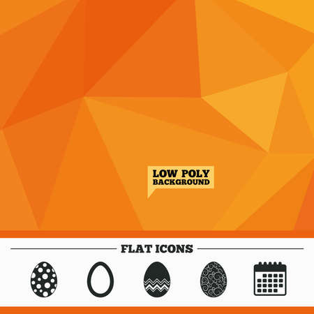 pasch: Triangular low poly orange background. Easter eggs icons. Circles and floral patterns symbols. Tradition Pasch signs. Calendar flat icon. Vector Illustration
