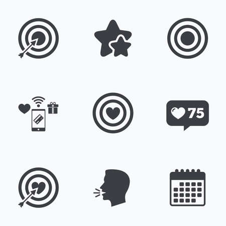 head shot: Target aim icons. Darts board with heart and arrow signs symbols. Flat talking head, calendar icons. Stars, like counter icons. Vector