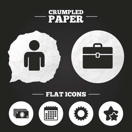 paper case: Crumpled paper speech bubble. Businessman icons. Human silhouette and cash money signs. Case and gear symbols. Paper button. Vector