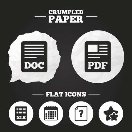 xls: Crumpled paper speech bubble. File document and question icons. XLS, PDF and DOC file symbols. Download or save doc signs. Paper button. Vector