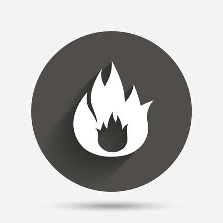 fire circle: Fire flame sign icon. Fire symbol. Stop fire. Escape from fire. Circle flat button with shadow. Vector