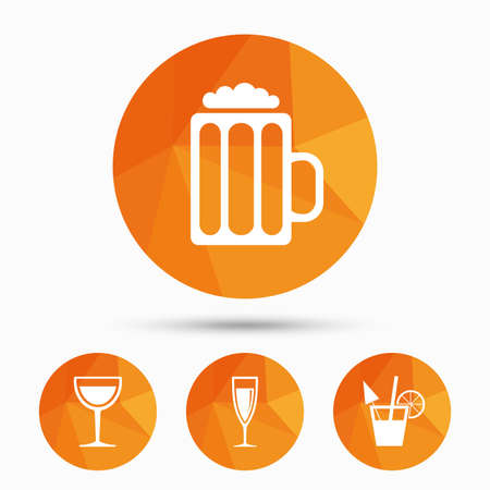 low glass: Alcoholic drinks icons. Champagne sparkling wine and beer symbols. Wine glass and cocktail signs. Triangular low poly buttons with shadow. Vector Illustration