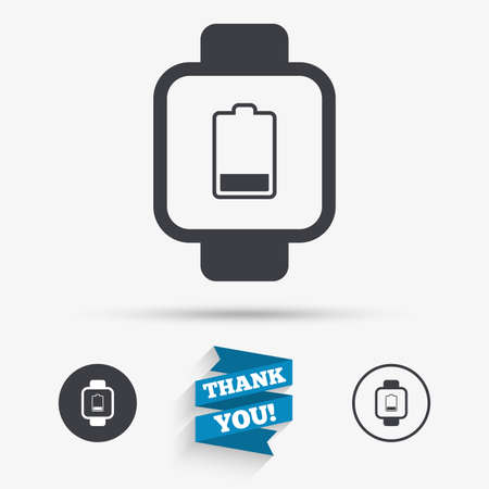 low energy: Smart watch sign icon. Wrist digital watch. Low battery energy symbol. Flat icons. Buttons with icons. Thank you ribbon. Vector Illustration