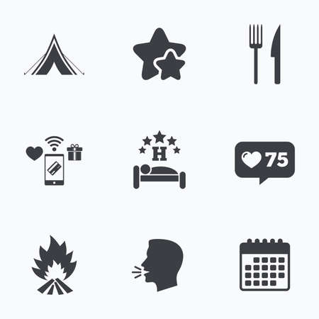 breakfast in bed: Food, sleep, camping tent and fire icons. Knife and fork. Hotel or bed and breakfast. Road signs. Flat talking head, calendar icons. Stars, like counter icons. Vector