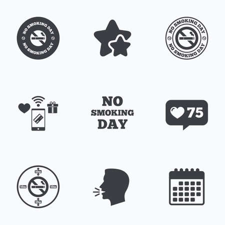 quit: No smoking day icons. Against cigarettes signs. Quit or stop smoking symbols. Flat talking head, calendar icons. Stars, like counter icons. Vector Illustration