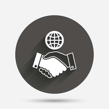 amicable: World handshake sign icon. Amicable agreement. Successful business with globe symbol. Circle flat button with shadow. Vector