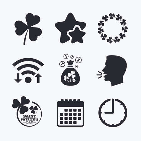 feast of saint patrick: Saint Patrick day icons. Money bag with clover sign. Wreath of trefoil shamrock clovers. Symbol of good luck. Wifi internet, favorite stars, calendar and clock. Talking head. Vector