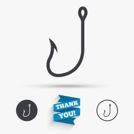 tackle: Fishing hook sign icon. Fishermen tackle symbol. Flat icons. Buttons with icons. Thank you ribbon. Vector