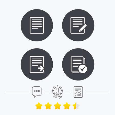 ファイルのドキュメント アイコンを。シンボル ファイルをダウンロードします。鉛筆サインとコンテンツを編集します。チェック ボックスでファ  イラスト・ベクター素材