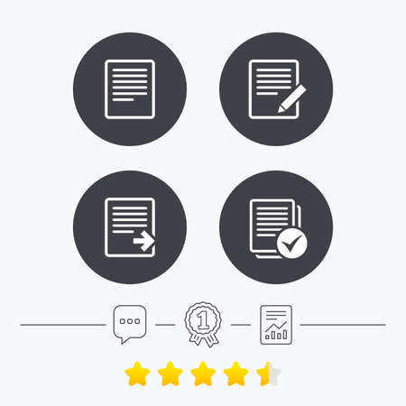 File document icons. Download file symbol. Edit content with pencil sign. Select file with checkbox. Chat, award medal and report linear icons. Star vote ranking. Vector Illustration