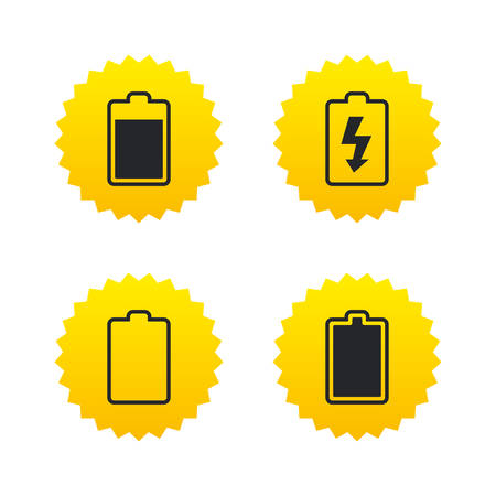 stored: Battery charging icons. Electricity signs symbols. Charge levels: full, empty. Yellow stars labels with flat icons. Vector Illustration