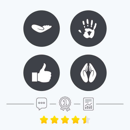 medal like: Hand icons. Like thumb up symbol. Insurance protection sign. Human helping donation hand. Prayer hands. Chat, award medal and report linear icons. Star vote ranking. Vector