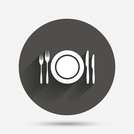 etiquette: Plate dish with forks and knifes. Eat sign icon. Cutlery etiquette rules symbol. Circle flat button with shadow. Vector
