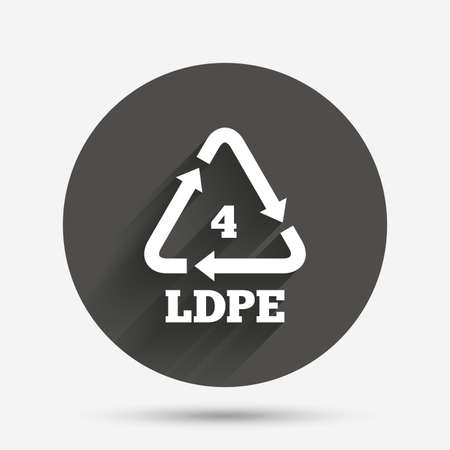 polyethylene: Ld-pe 4 icon. Low-density polyethylene sign. Recycling symbol. Circle flat button with shadow. Vector