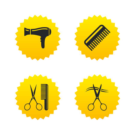 cut hair: Hairdresser icons. Scissors cut hair symbol. Comb hair with hairdryer sign. Yellow stars labels with flat icons. Vector