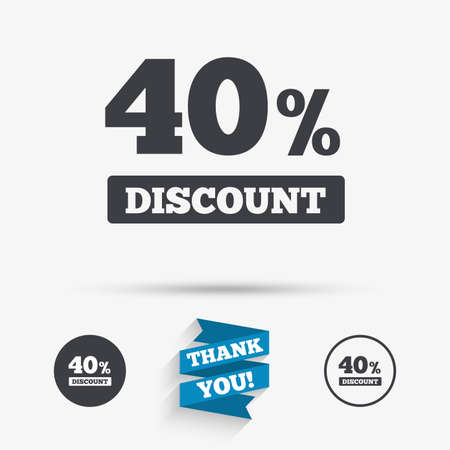 you are special: 40 percent discount sign icon. Sale symbol. Special offer label. Flat icons. Buttons with icons. Thank you ribbon. Vector