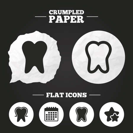 enamel: Crumpled paper speech bubble. Tooth enamel protection icons. Dental care signs. Healthy teeth symbols. Paper button. Vector