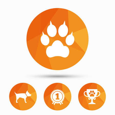 low prizes: Pets icons. Cat paw with clutches sign. Winner cup and medal symbol. Dog silhouette. Triangular low poly buttons with shadow. Vector Illustration