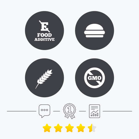 free vote: Food additive icon. Hamburger fast food sign. Gluten free and No GMO symbols. Without E acid stabilizers. Chat, award medal and report linear icons. Star vote ranking. Vector