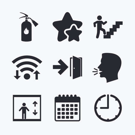 Emergency exit icons. Fire extinguisher sign. Elevator or lift symbol. Fire exit through the stairwell. Wifi internet, favorite stars, calendar and clock. Talking head. Vector