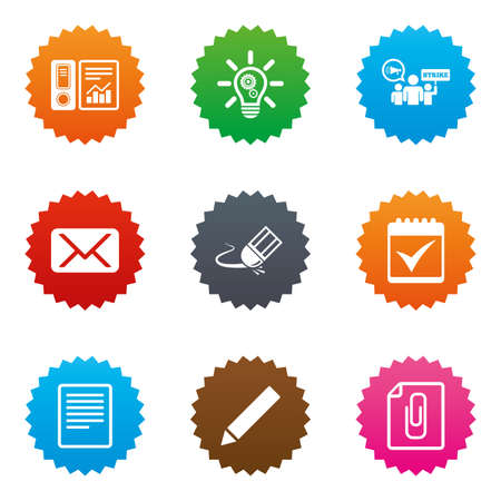 pencil symbol: Office, documents and business icons. Accounting, strike and calendar signs. Mail, ideas and statistics symbols. Stars label button with flat icons. Vector