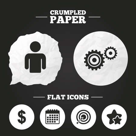 paper currency: Crumpled paper speech bubble. Business icons. Human silhouette and aim targer with arrow signs. Dollar currency and gear symbols. Paper button. Vector