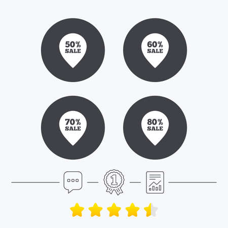 50 to 60: Sale pointer tag icons. Discount special offer symbols. 50%, 60%, 70% and 80% percent sale signs. Chat, award medal and report linear icons. Star vote ranking. Vector