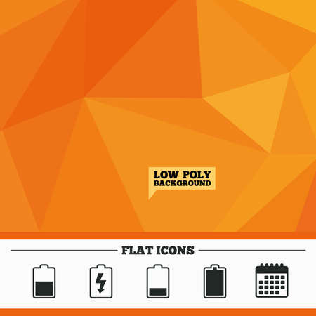 stored: Triangular low poly orange background. Battery charging icons. Electricity signs symbols. Charge levels: full, half and low. Calendar flat icon. Vector
