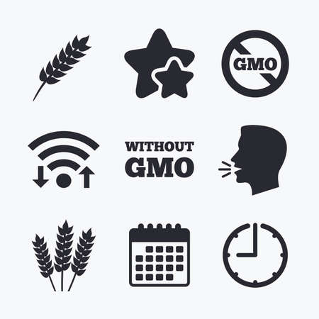 genetically modified crops: Agricultural icons. Gluten free or No gluten signs. Without Genetically modified food symbols. Wifi internet, favorite stars, calendar and clock. Talking head. Vector Illustration