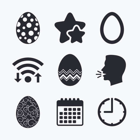 Easter eggs icons. Circles and floral patterns symbols. Tradition Pasch signs. Wifi internet, favorite stars, calendar and clock. Talking head. Vector