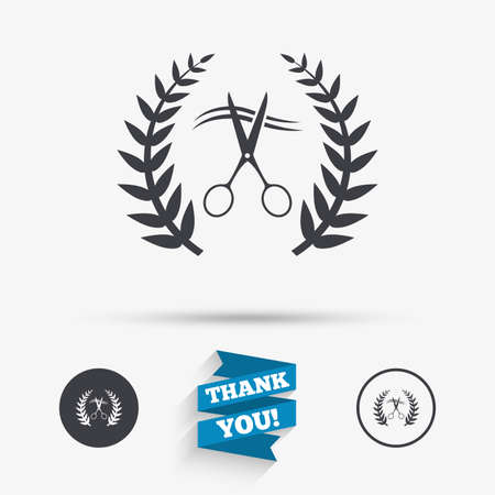 cut hair: Scissors cut hair sign icon. Hairdresser or barbershop laurel wreath symbol. Winner award. Flat icons. Buttons with icons. Thank you ribbon. Vector