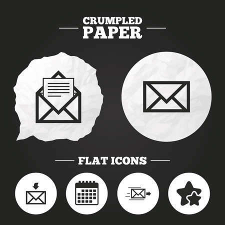 outbox: Crumpled paper speech bubble. Mail envelope icons. Message document delivery symbol. Post office letter signs. Inbox and outbox message icons. Paper button. Vector Illustration
