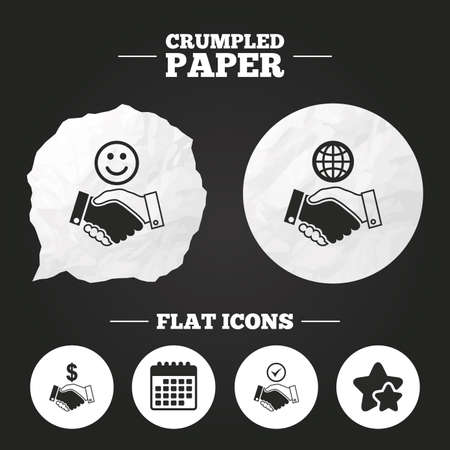amicable: Crumpled paper speech bubble. Handshake icons. World, Smile happy face and house building symbol. Dollar cash money. Amicable agreement. Paper button. Vector
