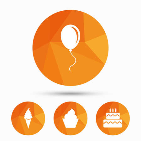on air sign: Birthday party icons. Cake with ice cream signs. Air balloon with rope symbol. Triangular low poly buttons with shadow. Vector Illustration