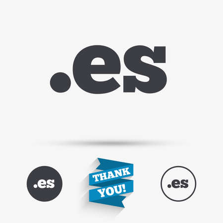 vector es: Domain ES sign icon. Top-level internet domain symbol. Flat icons. Buttons with icons. Thank you ribbon. Vector