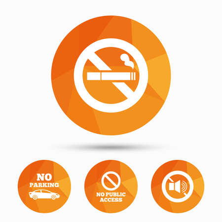 private access: Stop smoking and no sound signs. Private territory parking or public access. Cigarette symbol. Speaker volume. Triangular low poly buttons with shadow. Vector