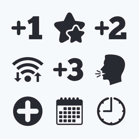 favorite number: Plus icons. Positive symbol. Add one, two, three and four more sign. Wifi internet, favorite stars, calendar and clock. Talking head. Vector