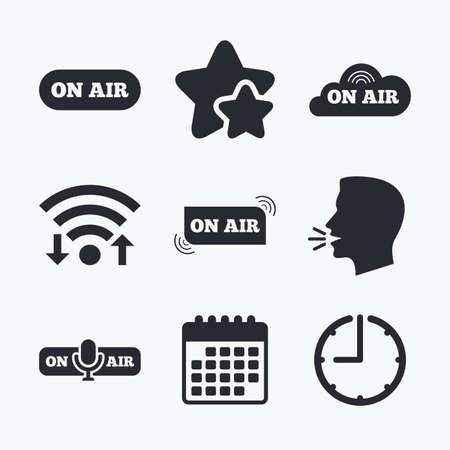 voices: On air icons. Live stream signs. Microphone symbol. Wifi internet, favorite stars, calendar and clock. Talking head. Vector Illustration