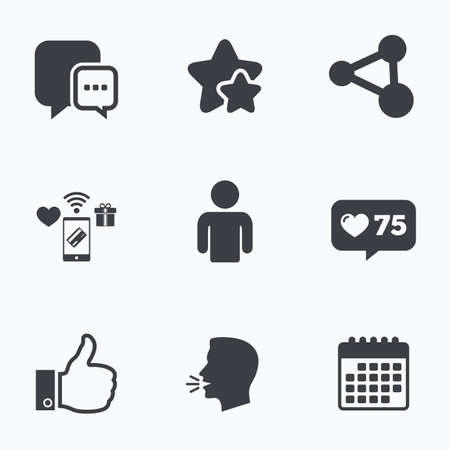 link up: Social media icons. Chat speech bubble and Share link symbols. Like thumb up finger sign. Human person profile. Flat talking head, calendar icons. Stars, like counter icons. Vector