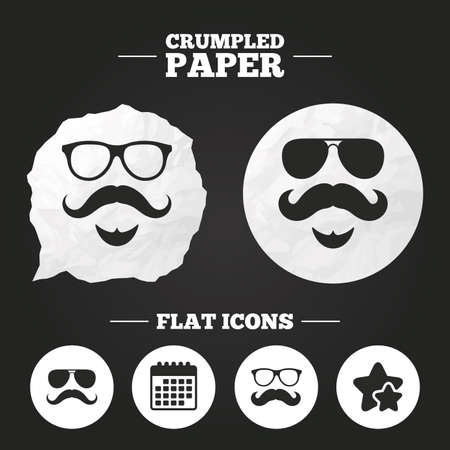 facial hair: Crumpled paper speech bubble. Mustache and Glasses icons. Hipster with beard symbols. Facial hair signs. Paper button. Vector