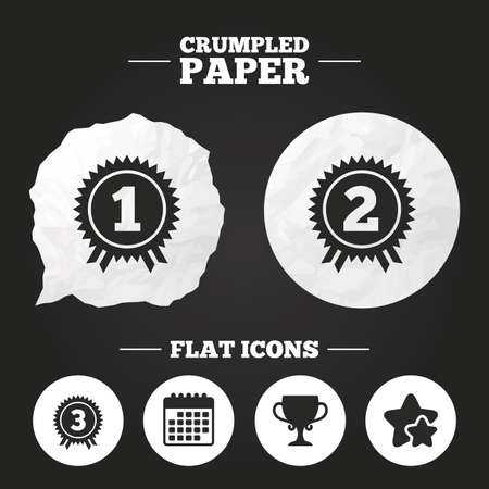 second prize: Crumpled paper speech bubble. First, second and third place icons. Award medals sign symbols. Prize cup for winner. Paper button. Vector
