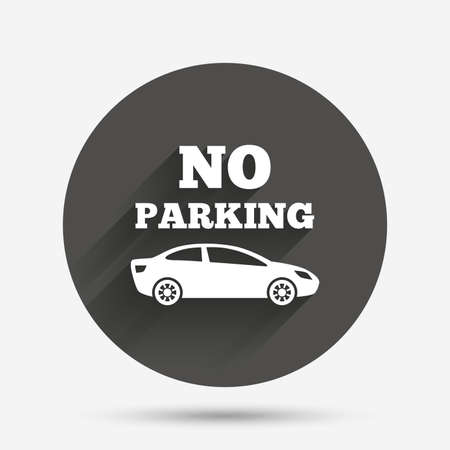 no parking sign: No parking sign icon. Private territory symbol. Circle flat button with shadow. Vector Illustration