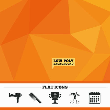 low prizes: Triangular low poly orange background. Hairdresser icons. Scissors cut hair symbol. Comb hair with hairdryer symbol. Barbershop winner award cup. Calendar flat icon. Vector